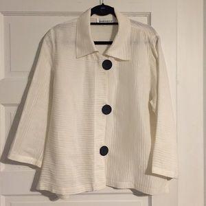 Caroline Rose Silk & Linen Blend Big-Button Top